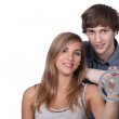 Portrait of teenagers with @ — Stock Photo