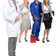 Stockfoto: Doctor, mechanic, MD and secretary.
