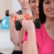 Women lifting dumbbells at the gym — Stock Photo