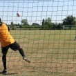 Stock Photo: Goalkeeper catching ball