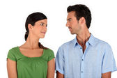 Couple making eye contact — Stock Photo