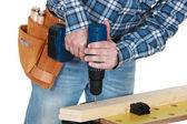Man using a cordless drill — Stock Photo