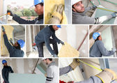 Montage of builders fitting insulation and plasterboard — Stock Photo