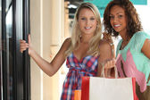 Portrait of 2 girls with shopping bags — Foto de Stock