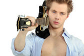 Man with electric guitar — Stock Photo
