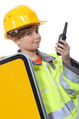 Child dressed up as a construction worker — Stock Photo