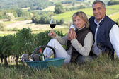 Couple tasting wine in a vineyard — Stock Photo