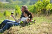 Pár ochutnávka vína na vinici — Stock fotografie
