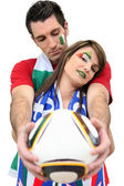 Soccer fans made-up with colours of Italy — Stock Photo