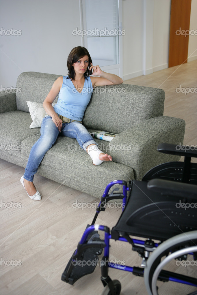 Woman with her leg in a cast  Stock Photo #8559939