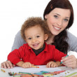 Woman and child colouring — Stock Photo #8561508