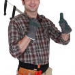 Builder holding calipers and giving the thumbs-up — Stock Photo #8563409