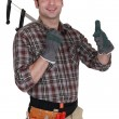 Builder holding calipers and giving the thumbs-up — Foto de Stock