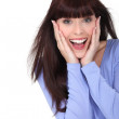 Stock Photo: Excited brunette