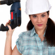 Worker with a power drill — Stock Photo