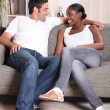 Couple on sofa — Stock Photo