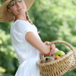Stock Photo: Fair-haired belle with basket