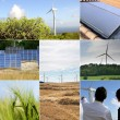 Stock Photo: Solar panels and windmills
