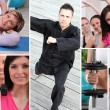 Fitness mosaic — Stock Photo
