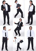 Miscellaneous full-length shots of businessman in various postures — Stock Photo