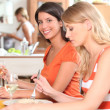Young women having lunch — Stock Photo