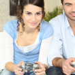 Stock Photo: Couple playing video games