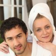 Young couple in a bathroom - Stock Photo
