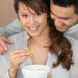 Couple having breakfast together — Stock Photo #8574187