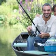 Sitting boat fishing — Stock Photo