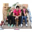 Three housemates cleaning — Stock Photo