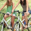Stock Photo: Two teenage girls riding bikes in countryside