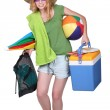Girl carrying things to the beach — Stock Photo #8577144