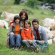Family portrait in the countryside — Stock Photo