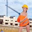 Beautiful half naked womposing on construction site — Stock Photo #8578725