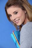 Gelukkig student poseren — Stockfoto