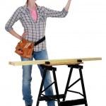 Happy craftswoman in her workshop — Stock Photo #8581795