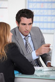 Meeting with bank manager — Stock Photo