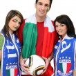 Three Italian football supporters — Stock Photo