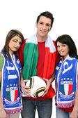 三个意大利足球的支持者 — 图库照片