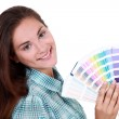 Woman with swatch — Stock Photo