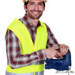 Workers with chain saw — Stock Photo