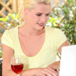 Platinum blonde and laptop — Stock Photo #8653900