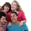 Two teenage couples in studio — Stockfoto