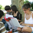 Teens sat by a tree studying — Stock Photo