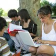 Teens sat by a tree studying — Stock Photo #8654434