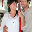 Couple in public bus — Stock Photo #8655221