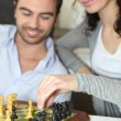 Couple playing chess — Stock Photo #8656270