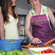 Mother and daughter in the kitchen — Stock Photo #8656487
