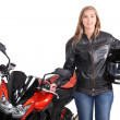 Stock Photo: Young female motorcyclist