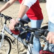 Stock Photo: Cycling on beach